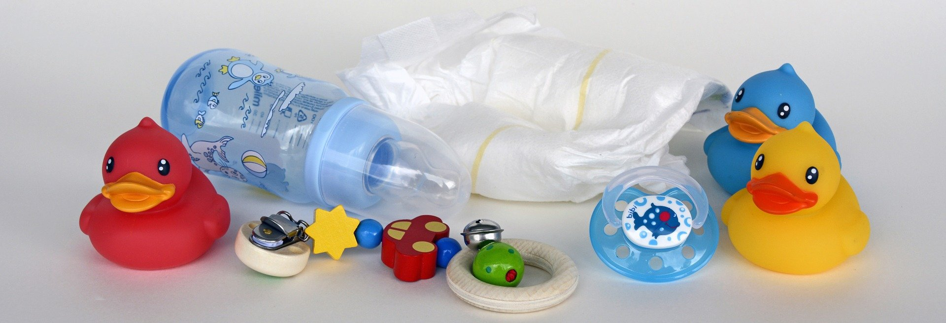 Ducks, Toy, Baby Bottle, Diapers, Dummy, Pacifier Chain